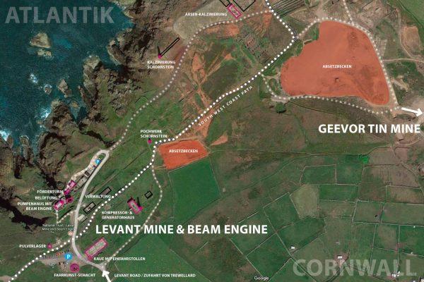 Levant Mine & Geevor Tin Mine . Tin Coast . Cornwall . Südengland (maps.google.de, Bearbeitung: Andreas Kuhrt 2017)